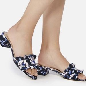 Shoes - Floral Ruffle Block Heel Mules